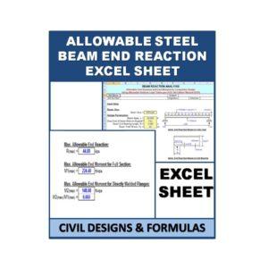 ALLOWABLE STEEL BEAM END REACTION Design Excel Sheet