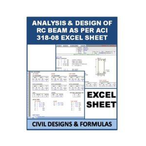 ANALYSIS & DESIGN OF RC BEAM AS PER ACI 318-08 Design Excel Sheet