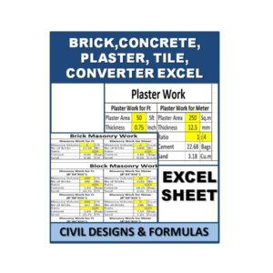 Brick, Concrete, Plaster, Tile, Converter Excel Sheet