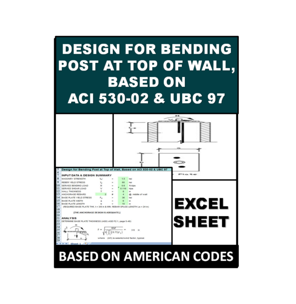 Design for Bending Post at Top of Wall, Based on ACI 530-02 and UBC 97