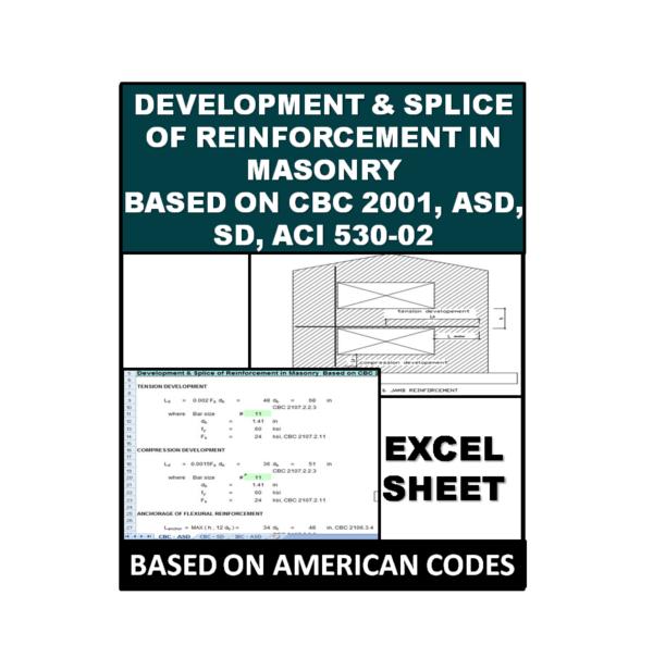 Development & Splice of Reinforcement in Masonry Based on CBC 2001, ASD, SD, ACI 530-02