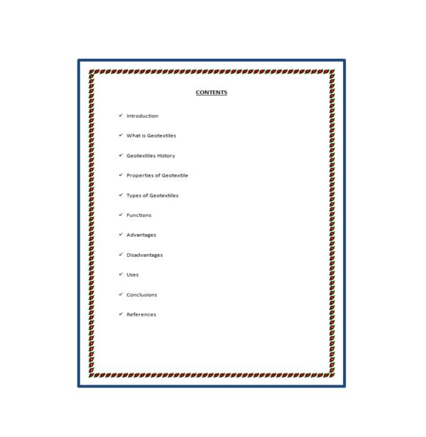 Geotextiles Seminar Report Content