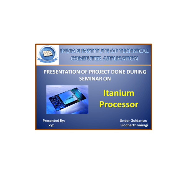 Itanium Processor PPT