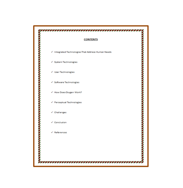 Project Oxygen Seminar Report Content