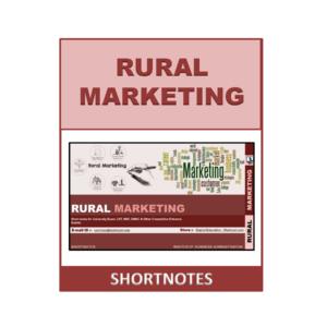 Rural Marketing Shortnote