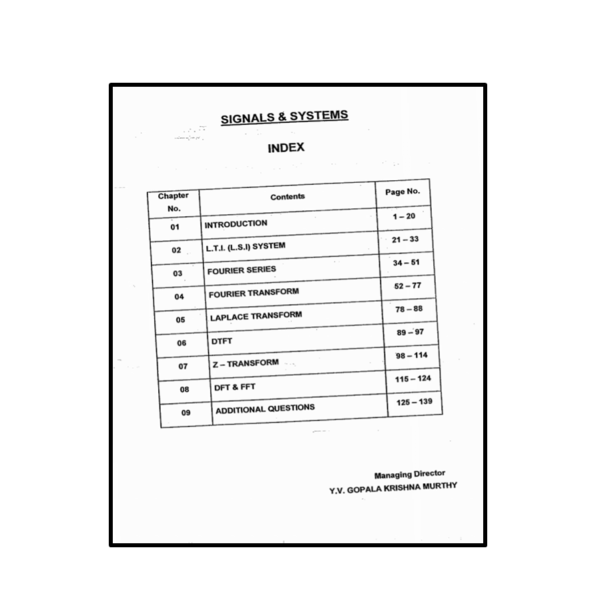 Signals & Systems Workbook Content