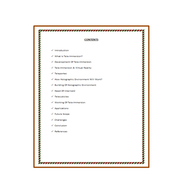 Tele Immersion Seminar Report Content