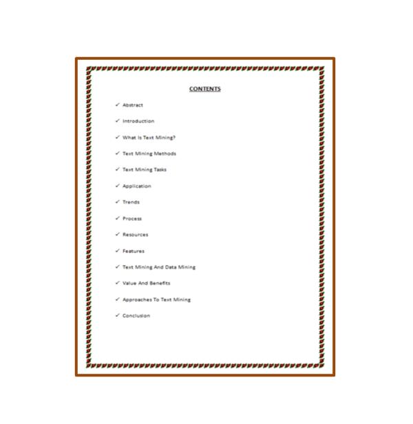 Text Mining Seminar Report Content