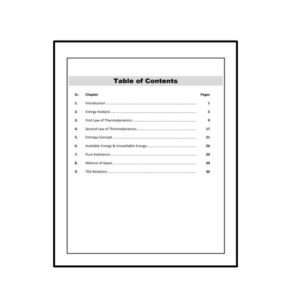 Thermodynamics & Applications Workbook Content