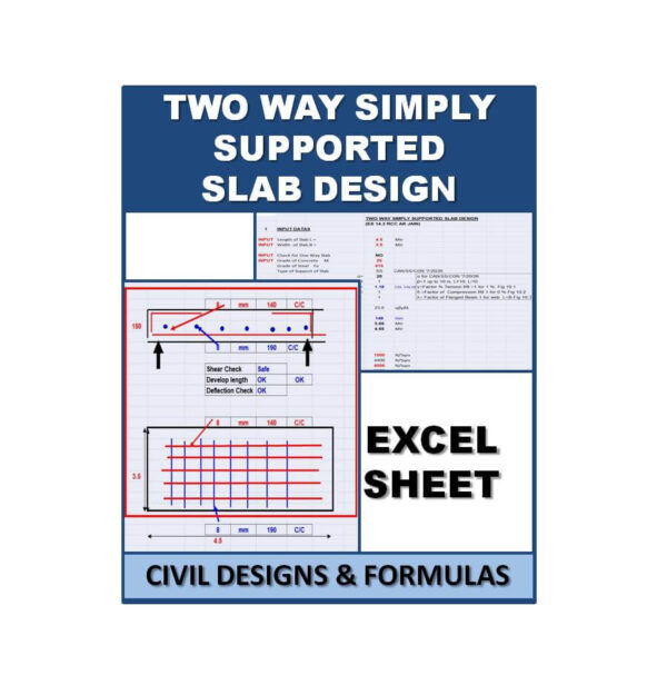 Two Way Simply Supported Slab Design Excel Sheet