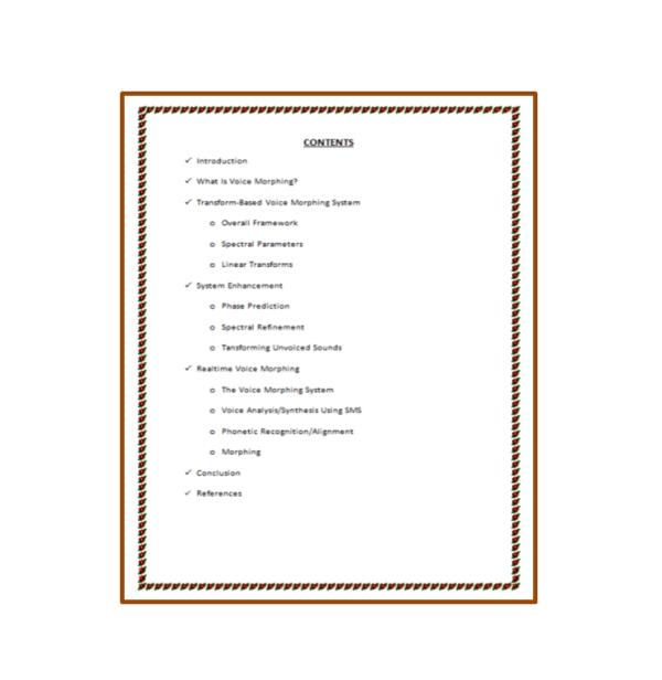 Voice Morphing Seminar Report Content