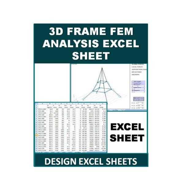 3D Frame FEM Analysis Excel Sheet
