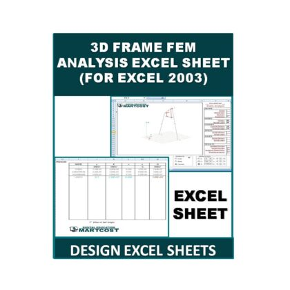 3D Frame FEM Analysis Design Excel Sheet (For Excel 2003)