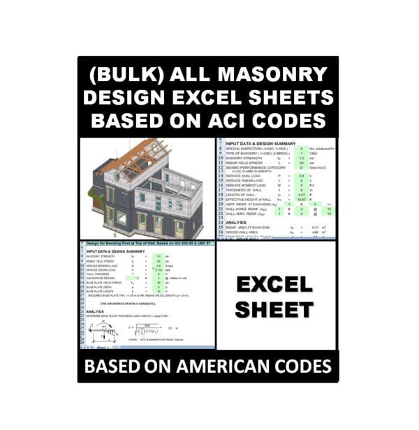 (Bulk) All Masonry Design Excel Sheets Based on ACI Codes