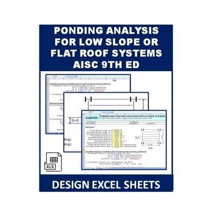 Ponding Analysis for Low Slope or Flat Roof Systems AISC 9th ED Excel Sheet