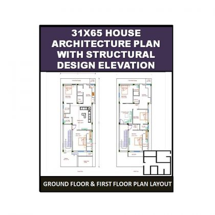 House Architecture Plan with Structural design Elevation 31X65 (ft.)