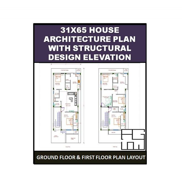 31X65 House Architecture Plan with Structural design Elevation 1