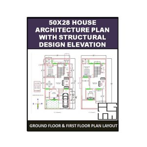 50X28 House Architecture Plan with Structural Design Elevation 1