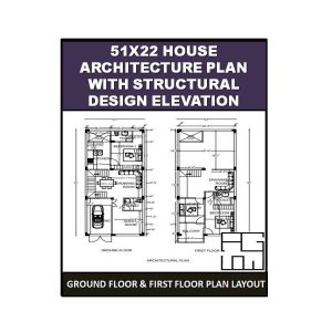 51X22 House Architecture Plan with Structural design Elevation 1