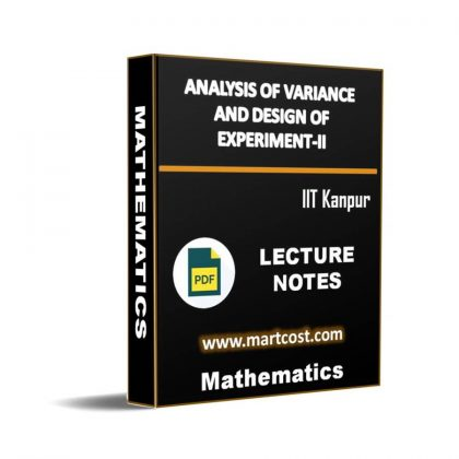 Analysis of variance and design of experiment-II Lecture Note