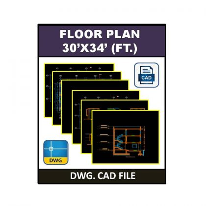 Floor Plan 30×34 (ft.) dwg CAD File