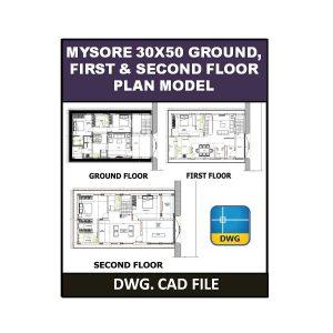 MYSORE 30X50 Ground, First & Second Floor Plan Model