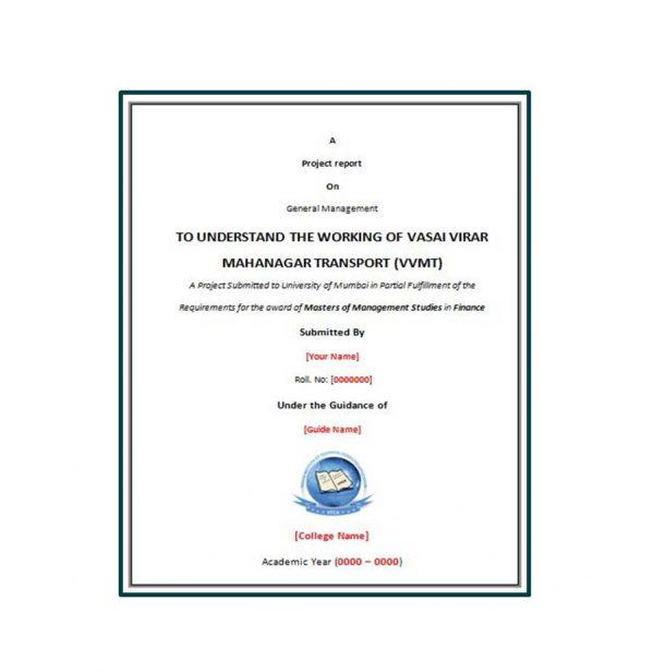 To Understand the Working of Vasai Virar Mahanagar Transport 1