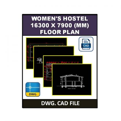 Women's Hostel 16300 x 7900 (mm) Plan dwg CAD File