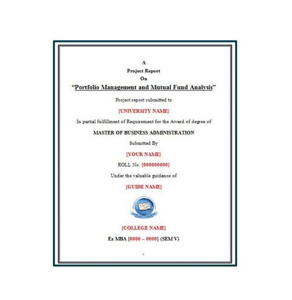 Portfolio Management and Mutual Fund Analysis 1